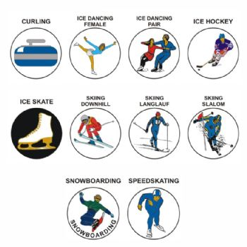 Winter Sports pk of 5 25mm centres-